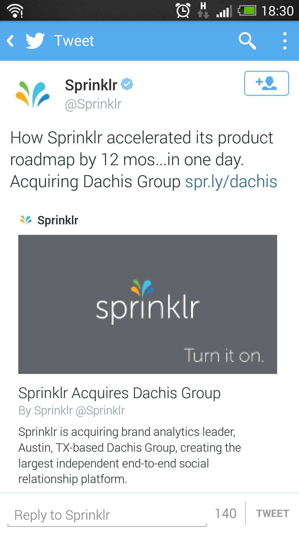 Sprinklr Twitter ad